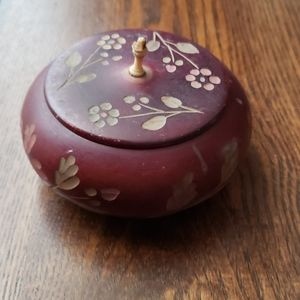 Vintage  hand carved floral round Jewelry box